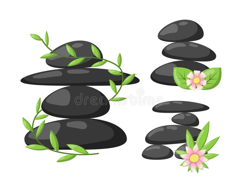 Pyramid from sea pebble relax heap stones isolated and healthy wellness black massage meditation natural tool spa royalty free illustration