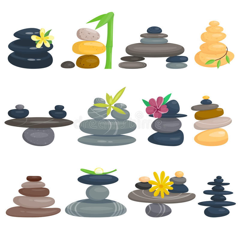Pyramid from sea pebble relax heap stones isolated vector illustration. vector illustration