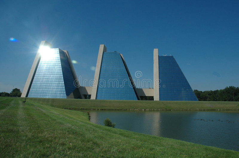 Pyramid shaped buildings royalty free stock photo