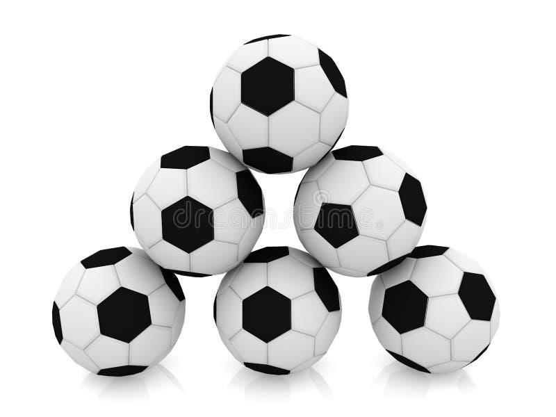 Pyramid of soccer balls stock illustration