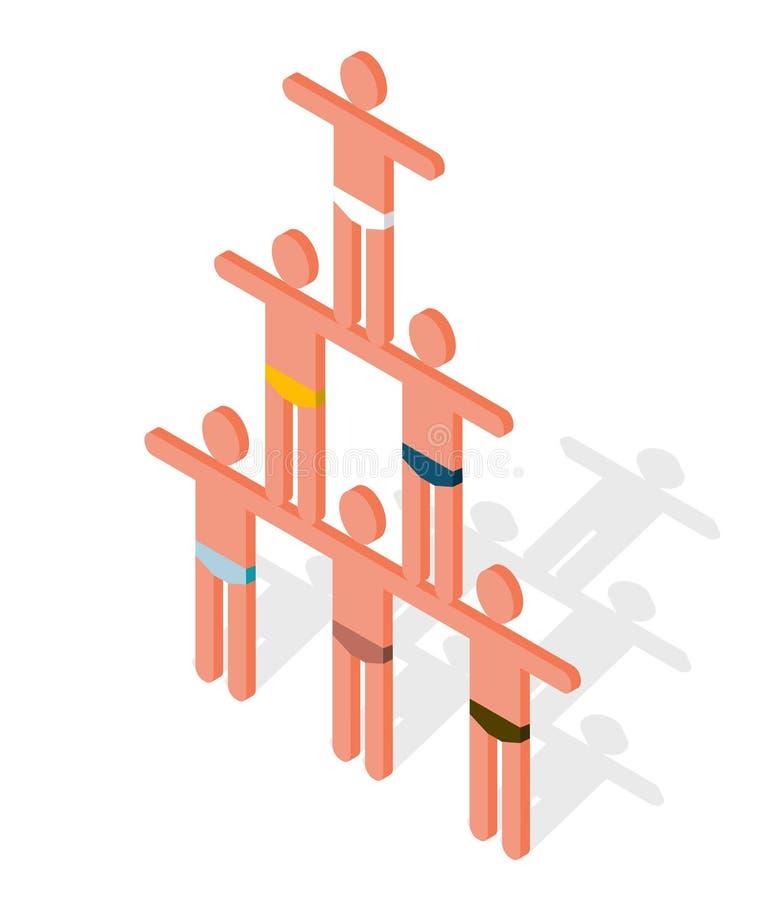 Pyramid som komponeras av människokroppar Symbolism av kamratskap, samarbete, mänskligt höra hemma, samhörighetskänsla och partne royaltyfri illustrationer