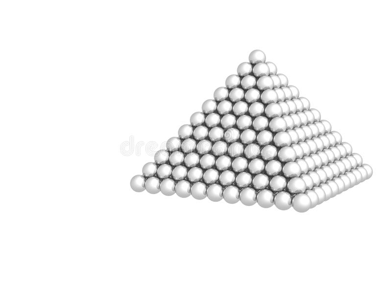 Pyramid of spheres on white background