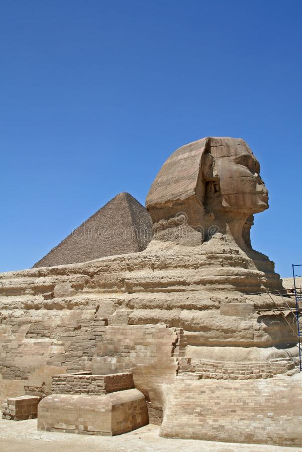 Pyramid and Sphinx stock photos