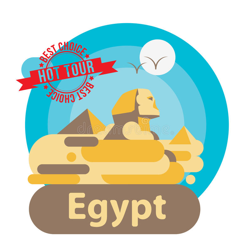 Pyramid and Sphinx The symbols of Cairo. Welcome to Egypt concept. vector illustration