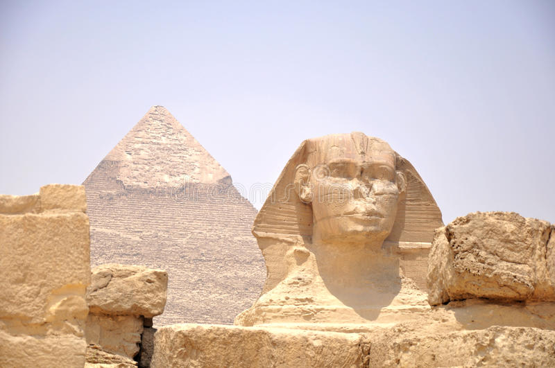 Pyramid and Sphynx stock images