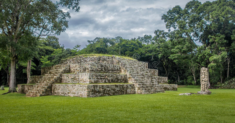 Pyramid and Stella in Great Plaza of Mayan Ruins - Copan Archaeological Site, Honduras royalty free stock images