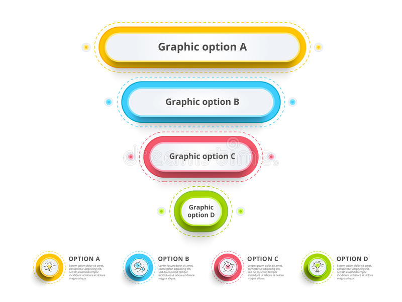 Pyramid 4 step process chart infographics with option circles. F vector illustration