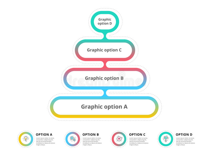 Pyramid 4 step process chart infographics with option circles. F. Unnel business workflow hierarchy elements. Company presentation slide template. Modern vector stock illustration
