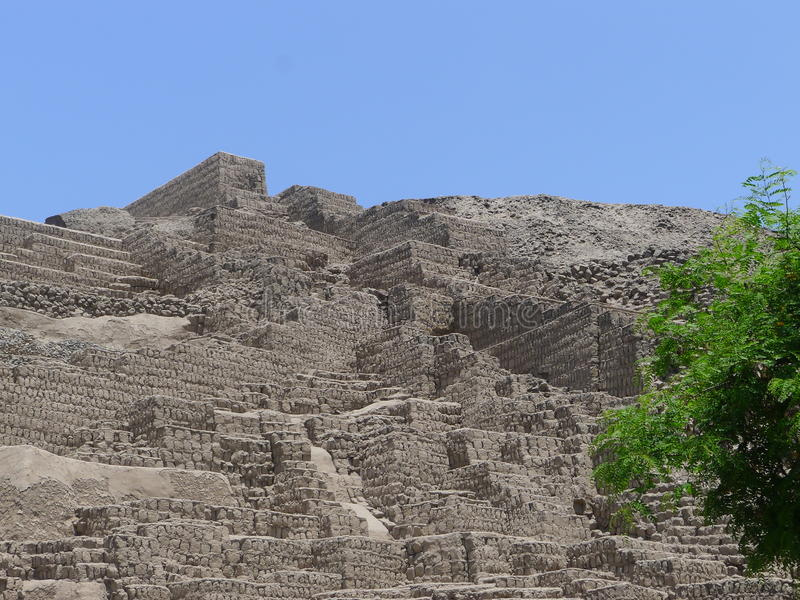 Pyramid steps at Huaca Pucllana, Miraflores, Lima. Partial view of a 1800 years old ceremonial archaeological site with anti quake adobe bricks located in royalty free stock images