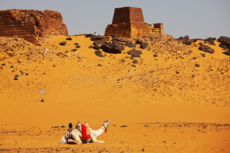 Pyramid in Sudan stock photos
