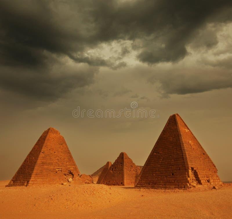 Pyramid in Sudan royalty free stock photography