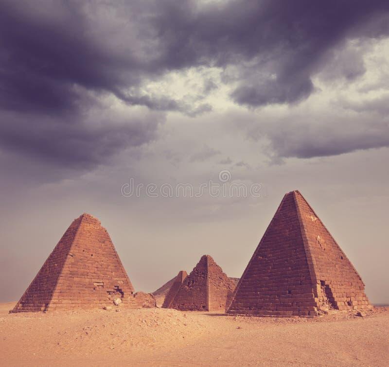 Pyramid in Sudan stock photos