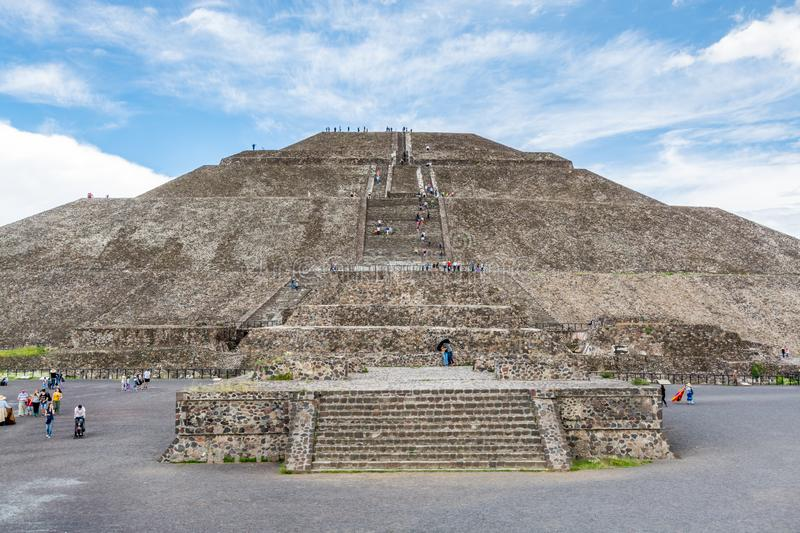 Pyramid of the Sun against blue sky, the largest ruins of the architecturally significant Mesoamerican pyramids  in Teotihuacan,. An ancient Mesoamerican city stock image