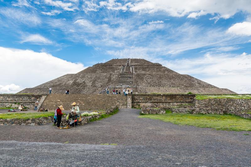 Pyramid of the Sun against blue sky, the largest ruins of the architecturally significant Mesoamerican pyramids  in Teotihuacan,. An ancient Mesoamerican city royalty free stock image