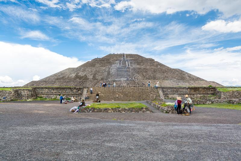 Pyramid of the Sun against blue sky, the largest ruins of the architecturally significant Mesoamerican pyramids  in Teotihuacan,. An ancient Mesoamerican city stock photo