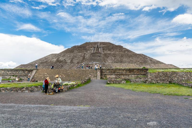 Pyramid of the Sun against blue sky, the largest ruins of the architecturally significant Mesoamerican pyramids  in Teotihuacan,. An ancient Mesoamerican city stock images