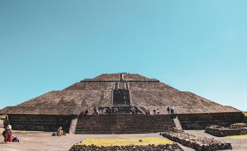 Pyramid of Sun in Teotihuacan, Mexico City stock images