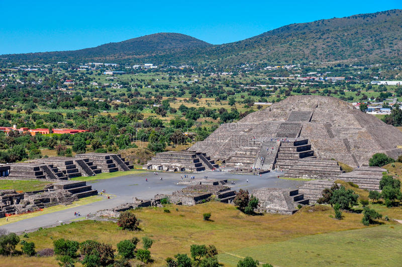Pyramid of Sun, Teotihuacan, Aztec ruins, Mexico stock photography