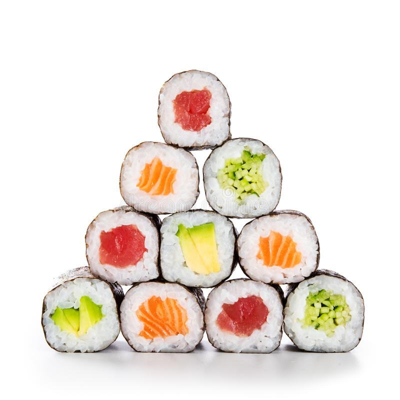 Pyramid of sushi hosomaki stock photography