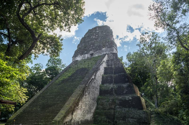 Pyramid and the Temple in Tikal Park. Sightseeing object in Guatemala with Mayan Temples and Ceremonial Ruins. Tikal is an ancient royalty free stock photography