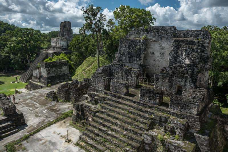 Pyramid and the Temple in Tikal Park. Sightseeing object in Guatemala with Mayan Temples and Ceremonial Ruins. Tikal is an ancient. Pyramid and the Temple in royalty free stock photo