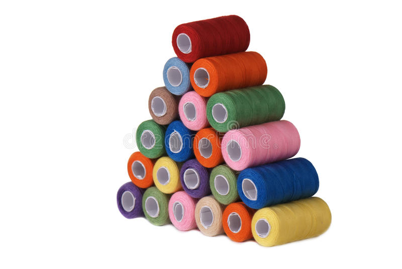 Pyramid of threads (45 degrees) stock images