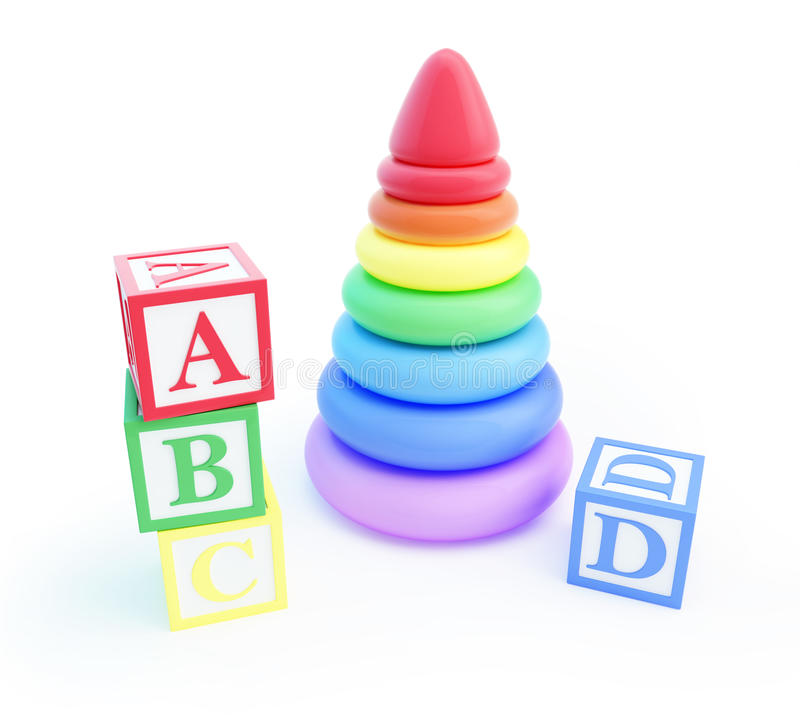 Download Pyramid Toy And Alphabet Blocks Stock Photo - Image: 28635010