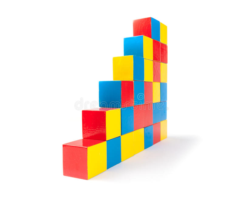 Pyramid of toy cubes stock image