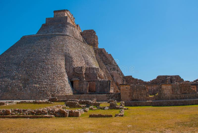 Pyramid of Uxmal, an ancient Maya city of the classical period. One of the most important archaeological sites of Maya culture. Yu royalty free stock photography