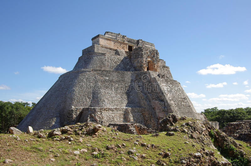 Pyramid at Uxmal. The Pyramid of the Magician (El Adivino) is the central structure in the Maya ruin complex of Uxmal, Mexico royalty free stock photography