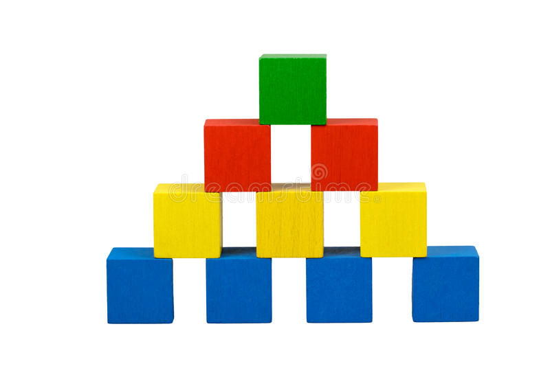 Pyramid from wooden color cubes with gubs. Pyramid built from wooden colorful cubes with gubs isolated on a white background. Bottom line consists of blue cubes stock photo
