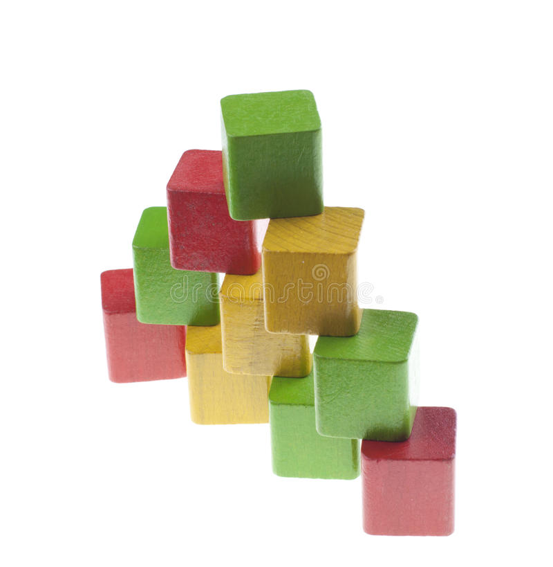 Download Pyramid with wooden cubes stock image. Image of development - 24681033