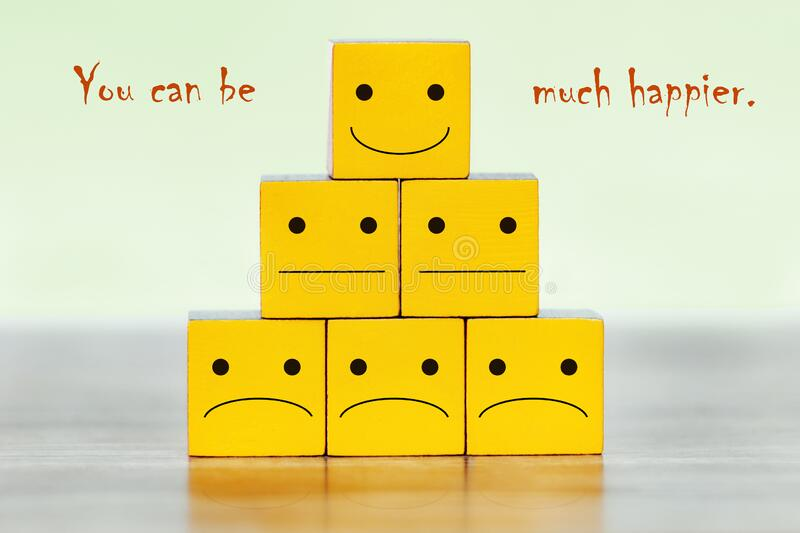 A pyramid of yellow blocks. `You can be much happier. A pyramid of yellow blocks. There are sad, neutral and funny emoticons on the cubes. Caption: `You can be stock photos