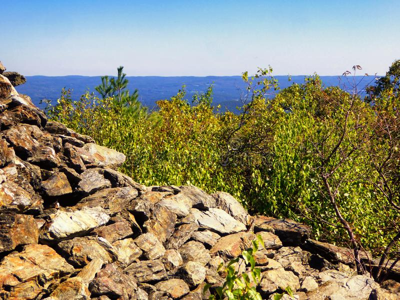Pyramidal stone tower on Bear Mountain. A pyramidal stone tower on Bear Mountain lies within the town of Salisbury, Connecticut, in the United States royalty free stock image