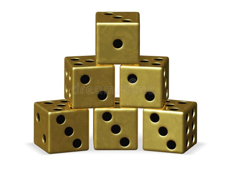 Pyramidbunt av guld- spela tärning royaltyfri illustrationer