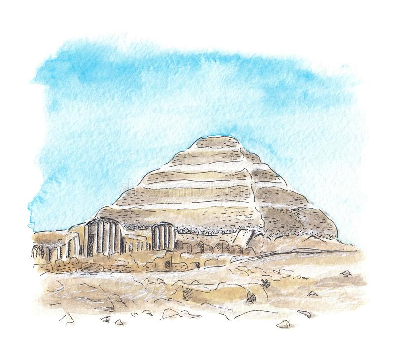 Pyramide égyptienne de Djoser illustration libre de droits