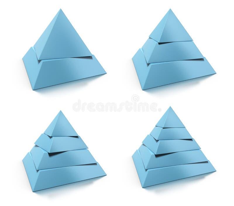 Pyramide- 3d, zwei, drei, vier und fünfstufen lizenzfreie abbildung