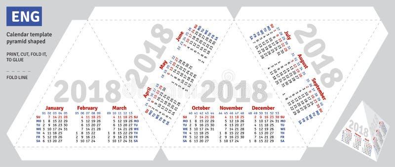 Pyramide 2018 anglaise de calendrier de calibre formée illustration stock