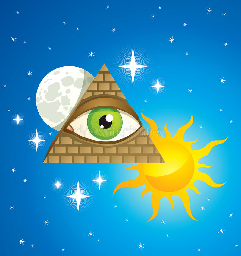 Pyramide avec l'oeil illustration stock
