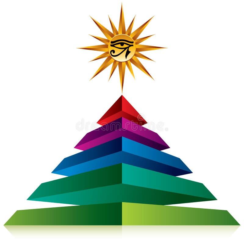 Pyramide avec l'oeil d'un dieu illustration libre de droits
