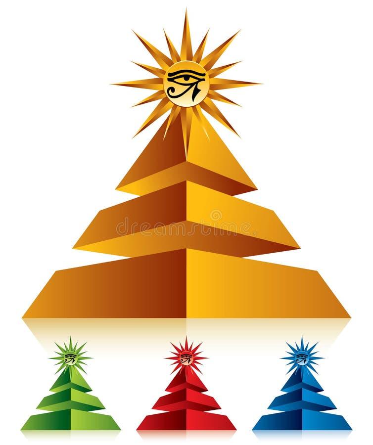Pyramide avec l'oeil du Ra illustration stock