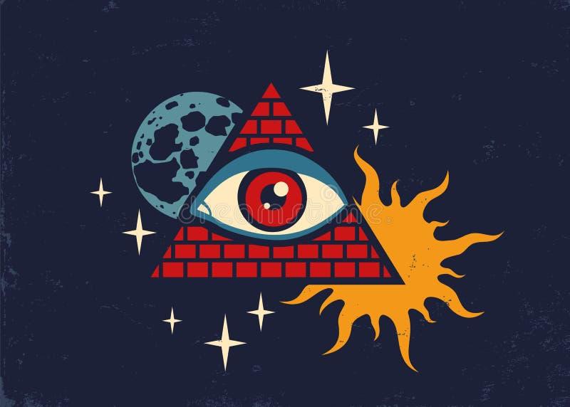 Pyramide avec l'oeil illustration de vecteur