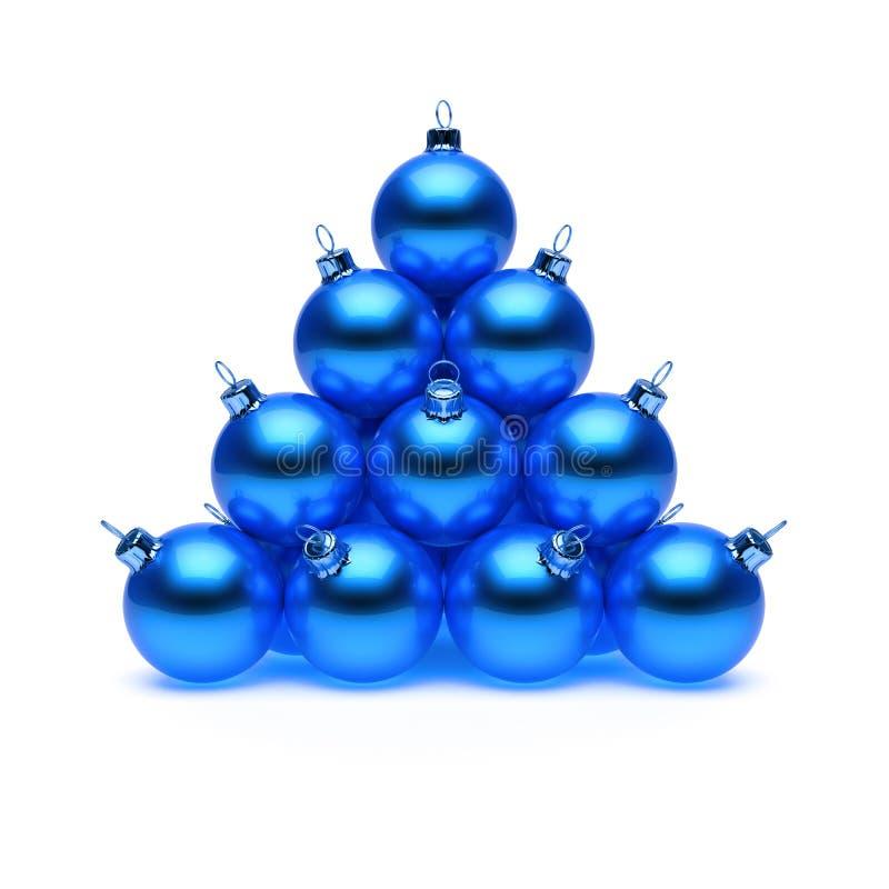 Pyramide bleue de boules de Noël brillante Groupe de babioles de bonne année illustration libre de droits