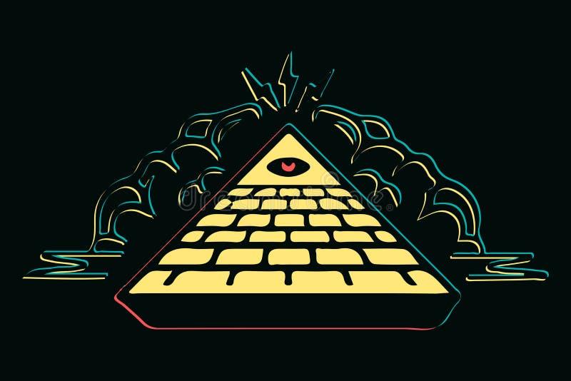 Pyramide colorée d'isolement de maçons avec l'illustration rouge de vecteur d'oeil, oeil de Providence Symbole maçonnique Tout l' illustration libre de droits