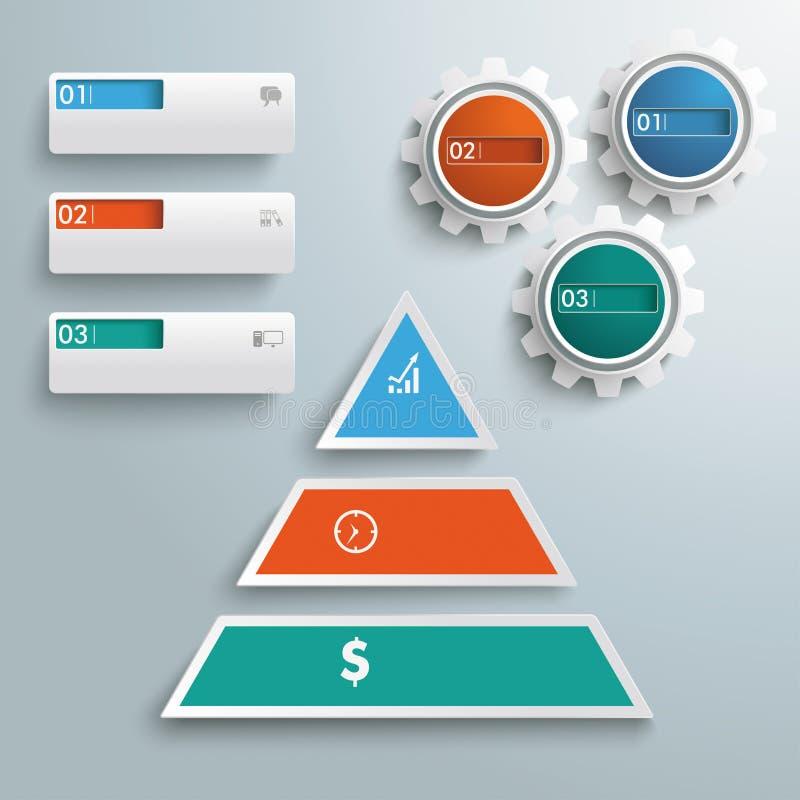 Pyramide colorido bandeiras Infographic PiAd das engrenagens de 3 partes ilustração stock