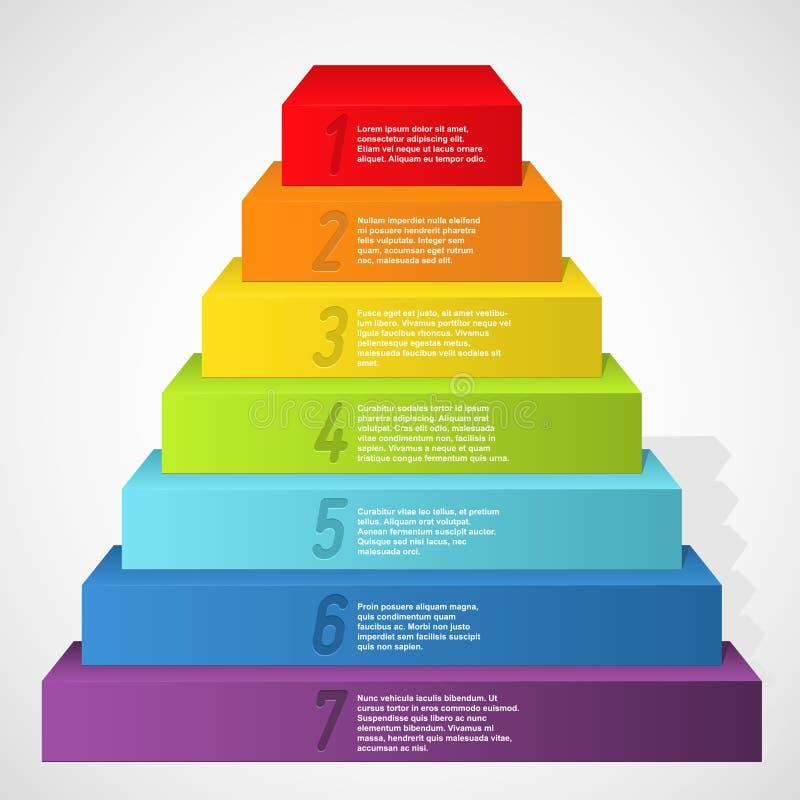 Pyramide d'arc-en-ciel avec des numéros illustration libre de droits