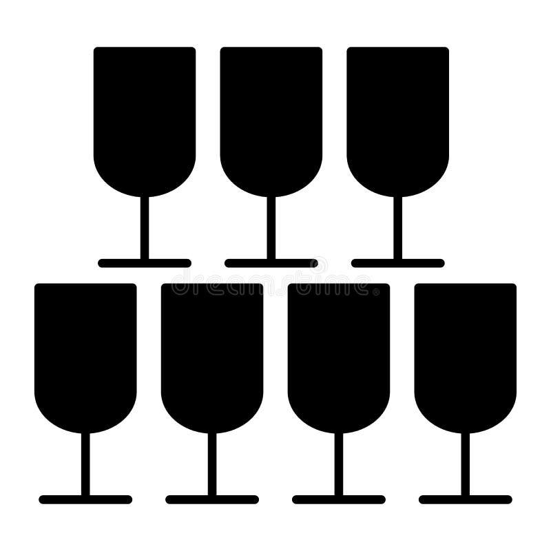 Pyramide d'icône de solide en verre Illustration de vecteur de banquet d'isolement sur le blanc Conception de style de glyph en v illustration de vecteur