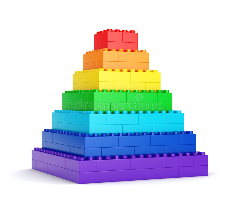 Pyramide de bloc de jouet d'arc-en-ciel illustration libre de droits