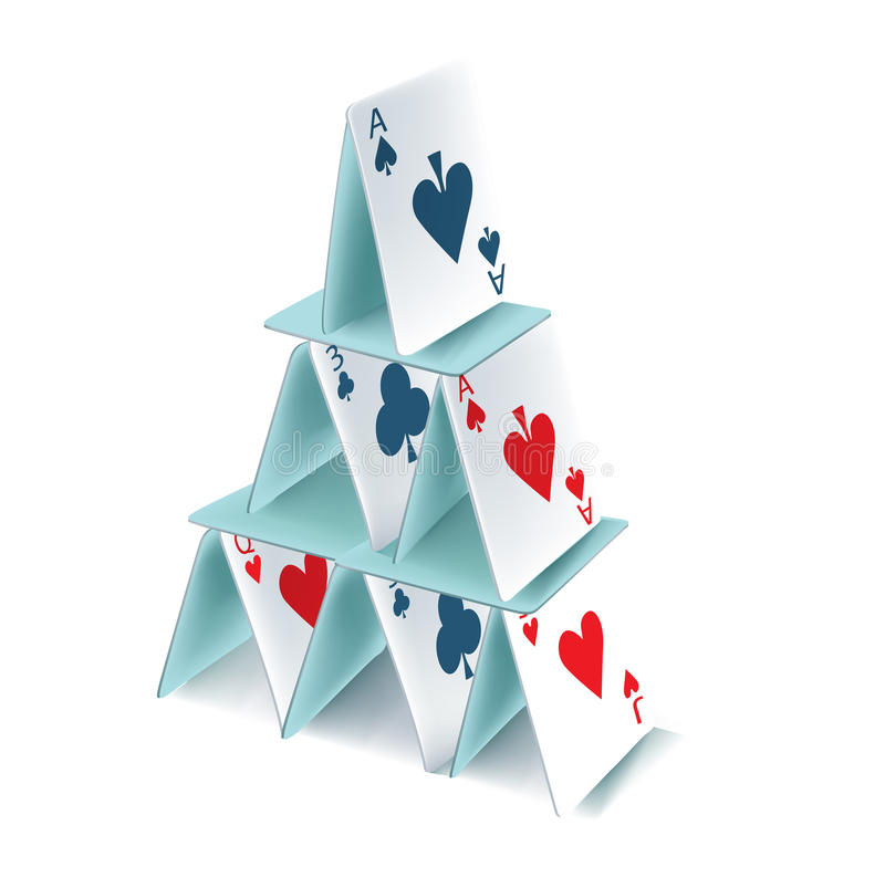 Pyramide de cartes de jeu d'isolement illustration stock