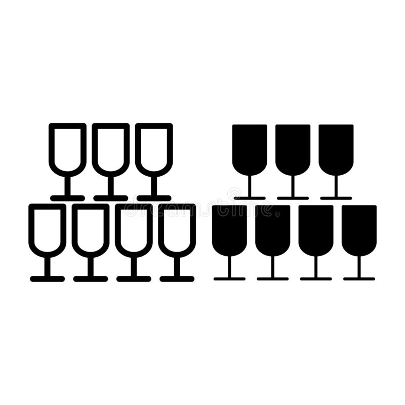 Pyramide de ligne en verre et d'icône de glyph Illustration de vecteur de banquet d'isolement sur le blanc Les verres de Champagn illustration stock